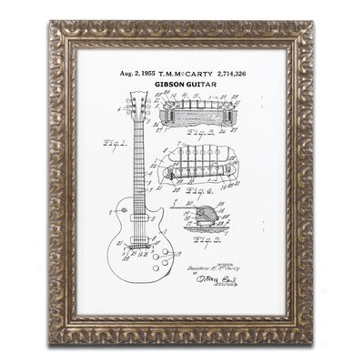 1955 McCarty Gibson Guitar by Claire Doherty Ornate Framed Graphic Art CDO0069-G1114F