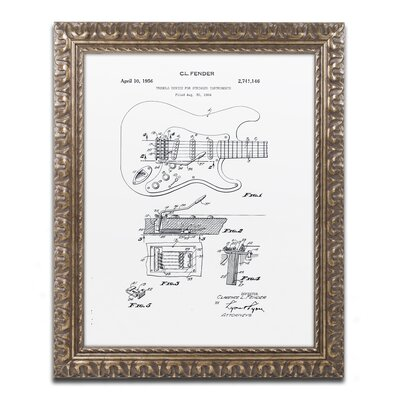 Fender Guitar Tremolo 1956 by Claire Doherty Ornate Framed Graphic Art in White CDO0056-G1114F