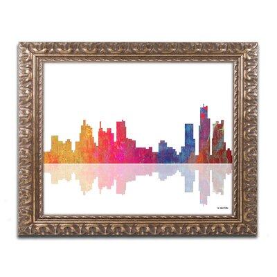 Boston Massachusetts Skyline II by Marlene Watson Ornate Framed Graphic Art Size: 16