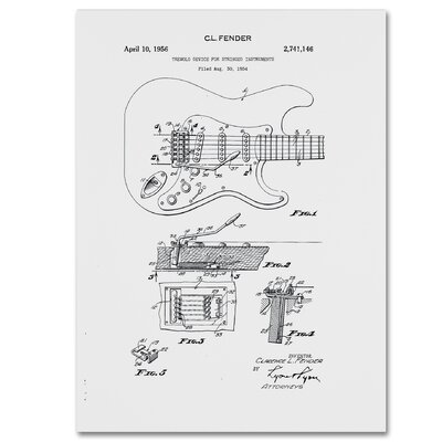 Fender Guitar Tremolo Patent 1956 by Claire Doherty Graphic Art on Wrapped Canvas in White CDO0056-C1419GG
