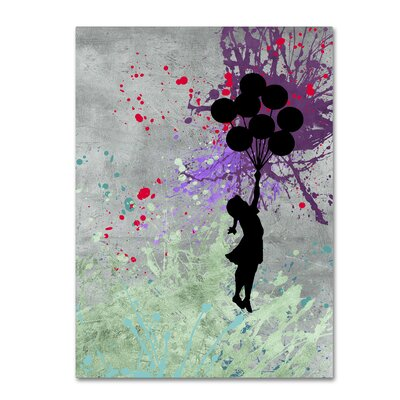 """Flying Balloons"""" by Banksy Graphic Art on Wrapped Canvas ALI1239-C1419GG"""
