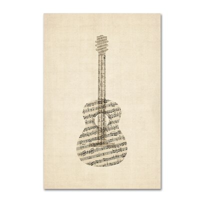 "Acoustic Guitar Old Sheet Music"" by Michael Tompsett Graphic Art on Wrapped Canvas MT0506-C1624GG"