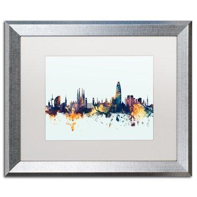 "Barcelona Spain Skyline Blue"" by Michael Tompsett Framed Graphic Art Size: 16"" H x 20"" W x 0.5"" D MT1112-S1620MF"