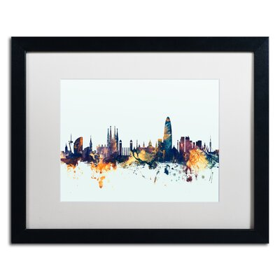 "Barcelona Spain Skyline Blue"" by Michael Tompsett Framed Graphic Art Size: 16"" H x 20"" W x 0.5"" D MT1112-B1620MF"