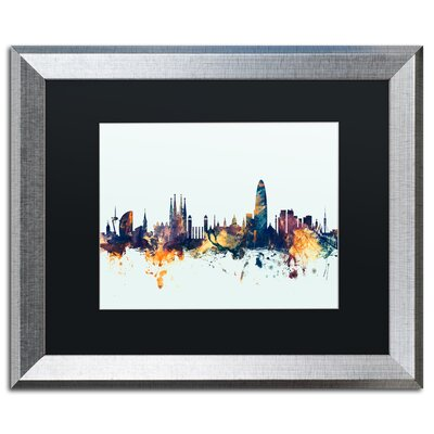 "Barcelona Spain Skyline Blue"" by Michael Tompsett Framed Graphic Art Size: 16"" H x 20"" W x 0.5"" D MT1112-S1620BMF"