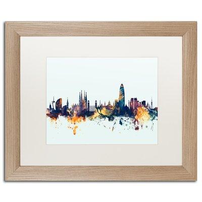 "Barcelona Spain Skyline Blue"" by Michael Tompsett Framed Graphic Art Size: 16"" H x 20"" W x 0.5"" D MT1112-T1620MF"