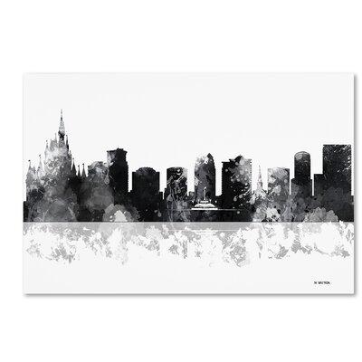 "Orlando Florida Skyline BG-1"" by Marlene Watson Graphic Art on Wrapped Canvas Size: 22"" H x 32"" W x 2"" D MW0158-C2232GG"