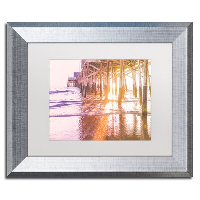 "Newport Pier Sunset 2 by Ariane Moshayedi Framed Photographic Print Size: 11"" H x 14"" W x 0.5"" D, Frame Color: Birch AM0295-T1114MF"