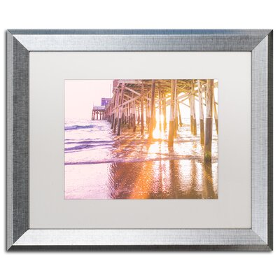 "Newport Pier Sunset 2 by Ariane Moshayedi Framed Photographic Print Size: 16"" H x 20"" W x 0.5"" D, Frame Color: Brown AM0295-W1620MF"