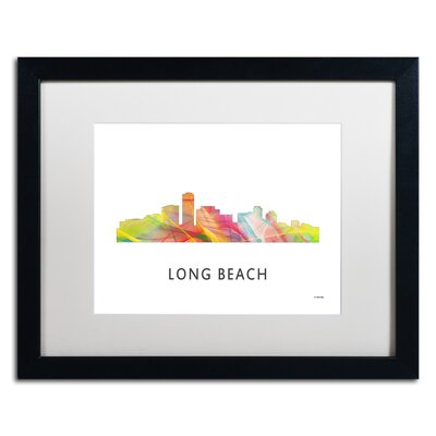 "Long Beach California Skyline WB-1"" by Marlene Watson Framed Graphic Art MW0384-B1620MF"