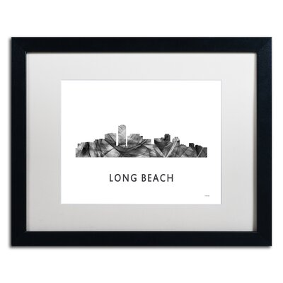 "Long Beach CA Skyline WB-BW"" by Marlene Watson Framed Graphic Art MW0454-B1620MF"