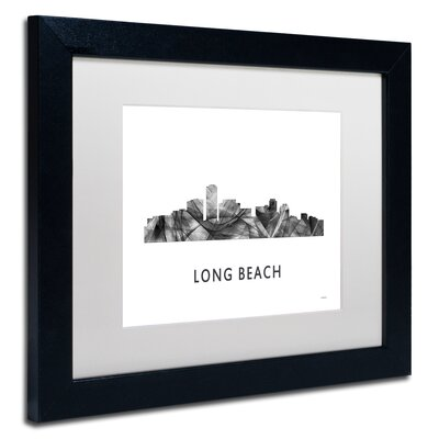 "Long Beach CA Skyline WB-BW"" by Marlene Watson Framed Graphic Art MW0454-B1114MF"