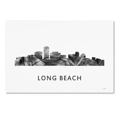 "Long Beach California Skyline WB-BW"" by Marlene Watson Graphic Art on Wrapped Canvas MW0454-C1219GG"