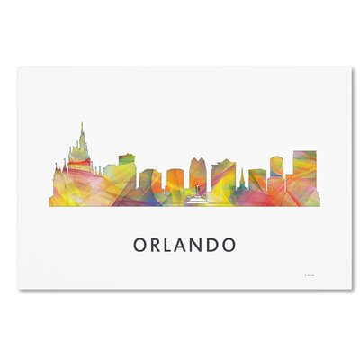 "Orlando Florida Skyline WB-1"" by Marlene Watson Graphic Art on Wrapped Canvas MW0404-C1219GG"