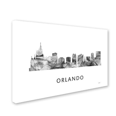 "Orlando Florida Skyline WB-BW"" by Marlene Watson Graphic Art on Wrapped Canvas Size: 16"" H x 24"" W x 2"" D MW0475-C1624GG"