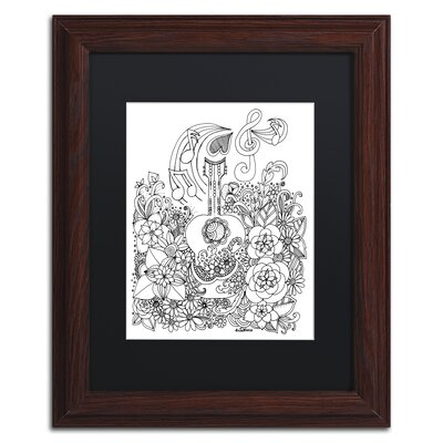 'Guitar Doodle' by KCDoodleArt Framed Graphic Art ALI3675-W1114BMF