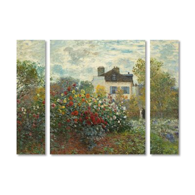 'Artist's Garden in Argenteuil' by Claude Monet 3 Piece Painting Print on Wrapped Canvas Set BL01429-3PC-SET-SM