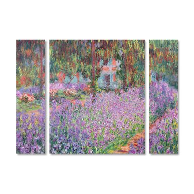 'Artist's Garden at Giverny' by Claude Monet 3 Piece Painting Print on Wrapped Canvas Set BL01178-3PC-SET-SM