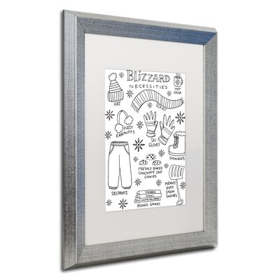 "'Blizzard Necessities' Framed Graphic Art Print Matte Color: White, Size: 20"" H x 16"" W x 0.5"" D ALI5522-S1620MF"