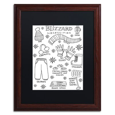 "'Blizzard Necessities' Framed Graphic Art Print Matte Color: Black, Size: 20"" H x 16"" W x 0.5"" D ALI5522-W1620BMF"