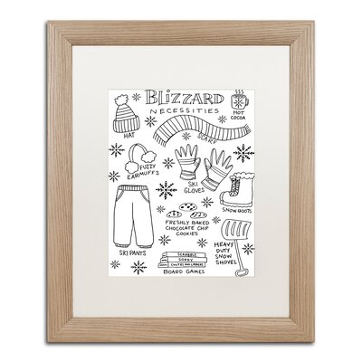 "'Blizzard Necessities' Framed Graphic Art Print Matte Color: White, Size: 20"" H x 16"" W x 0.5"" D ALI5522-T1620MF"