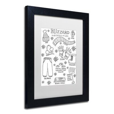 "'Blizzard Necessities' Framed Graphic Art Print Matte Color: White, Size: 14"" H x 11"" W x 0.5"" D ALI5522-B1114MF"