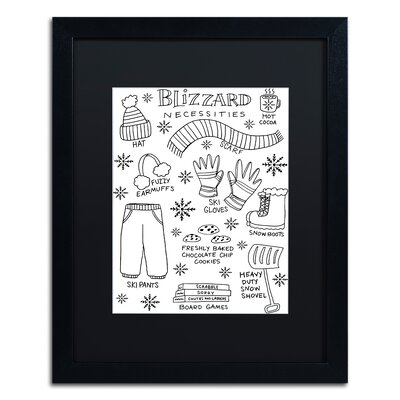 "'Blizzard Necessities' Framed Graphic Art Print Matte Color: Black, Size: 20"" H x 16"" W x 0.5"" D ALI5522-B1620BMF"