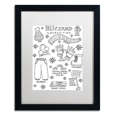 "'Blizzard Necessities' Framed Graphic Art Print Matte Color: White, Size: 20"" H x 16"" W x 0.5"" D ALI5522-B1620MF"