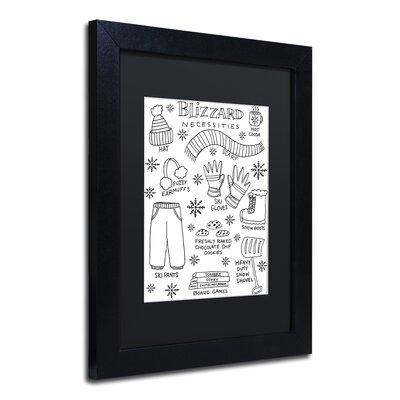 "'Blizzard Necessities' Framed Graphic Art Print Size: 14"" H x 11"" W x 0.5"" D, Matte Color: Black ALI5522-B1114BMF"