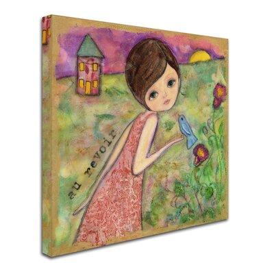 'Big Eyed Girl Au Revoir' Print on Wrapped Canvas ALI8144-C3535GG