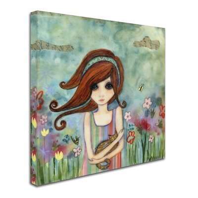 'Big Eyed Girl Bad Kitty' Print on Wrapped Canvas ALI8145-C3535GG