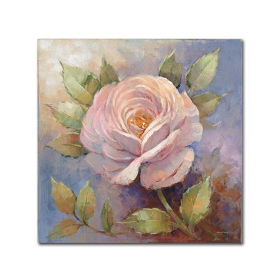 "'Roses on Blue IV Crop' Print on Wrapped Canvas Size: 14"" H x 14"" W WAP01563-C1414GG"