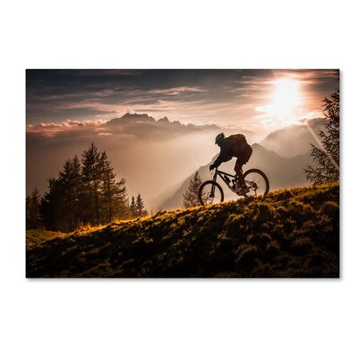 """'Golden Hour Biking' Photographic Print on Wrapped Canvas Size: 12"""" H x 19"""" W 1X03241-C1219GG"""