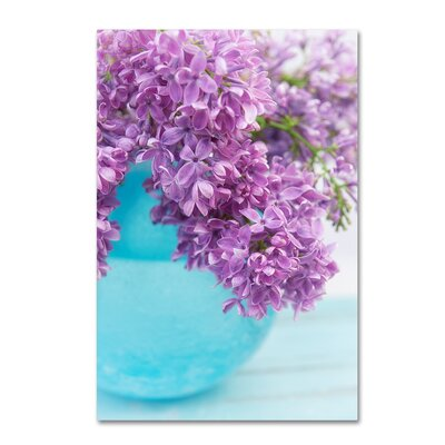 """'Lilacs in Blue Vase IV' Graphic Art Print on Wrapped Canvas Size: 24"""" H x 16"""" W ALI16566-C1624GG"""