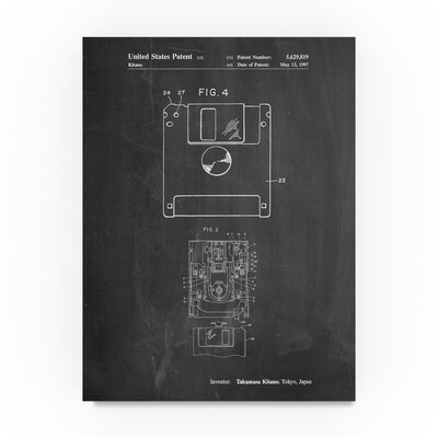 """'Floppy Disk' Drawing Print on Wrapped Canvas Size: 19"""" H x 14"""" W ALI21730-C1419GG"""