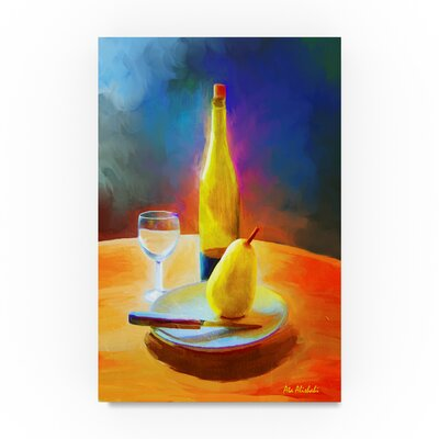 'Wine and Pear' Oil Painting Print on Wrapped Canvas ALI22533-C1219GG