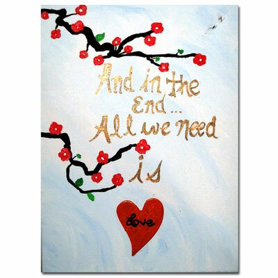 "All You Need is Love III"" by Amanda Rea Graphic Art on Wrapped Canvas AR010-C1419GG"