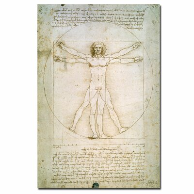 "The Proportions of the Human Figure"" by Leonardo da Vinci Graphic Art on Wrapped Canvas BL0006-C1624GG"