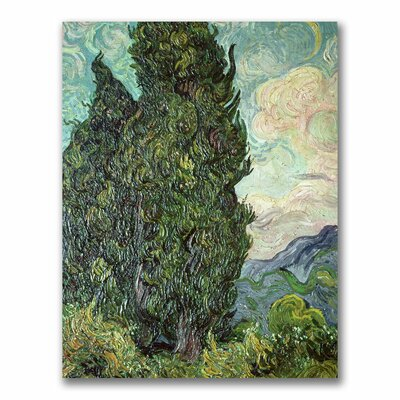 "Cypresses,1889"" by Vincent van Gogh Painting Print on Wrapped Canvas Size: 24"" H x 18"" W x 2"" D BL0460-C1824GG"