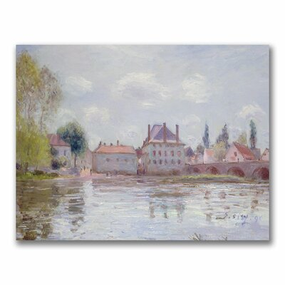 """The Bridge at Moret-sur-Loing"""" by Alfred Sisley Painting Print on Canvas BL0553-C1824GG"""
