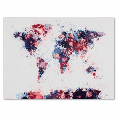 'Paint Splashes World Map 3' by Michael Tompsett Graphic Art on Canvas Size: 22