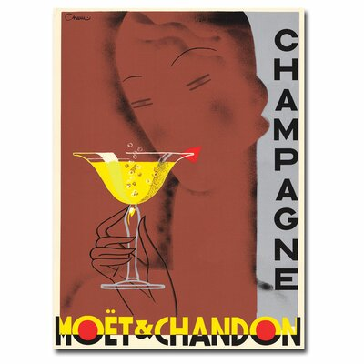 'Champagne Moet & Chandon' by Chem Vintage Advertisement on Canvas V6020-C1419GG