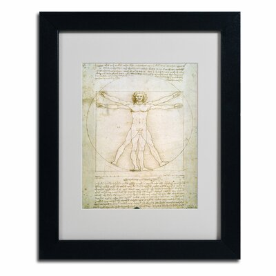 "The Proportions of the Human Figure"" by Leonardo da Vinci Matted Framed Painting Print BL0006-B1114MF"