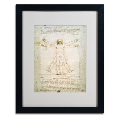 "The Proportions of the Human Figure"" by Leonardo da Vinci Matted Framed Painting Print BL0006-B1620MF"