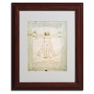 "The Proportions of the Human Figure"" by Leonardo da Vinci Matted Framed Painting Print BL0006-W1114MF"