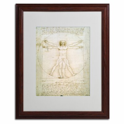 "The Proportions of the Human Figure"" by Leonardo da Vinci Matted Framed Painting Print BL0006-W1620MF"