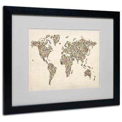"Ladies Shoes World Map"" by Michael Thompsett Framed Graphic Art Size: 16"" H x 20"" W x 0.5"" D, Frame: Black MT0290-B1620MF"