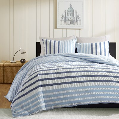 Sutton Reversible Comforter Set Size: King, Color: Blue