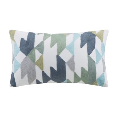 Mcrae Embroidered Cotton Lumbar Pillow Color: Blue / Green