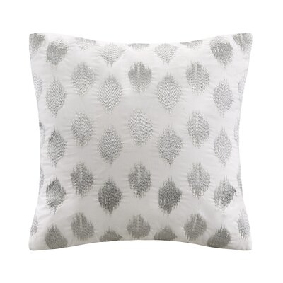 Nadia Dot Embroidered Cotton Throw Pillow Color: Silver